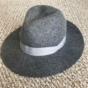 Gray wide brim felt hat